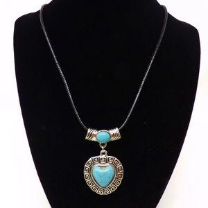 Jewelry - Turquoise Heart Pendant Necklace w/ Black Cord